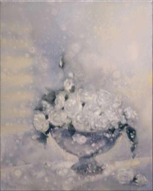 weiße Rosen II 40x50