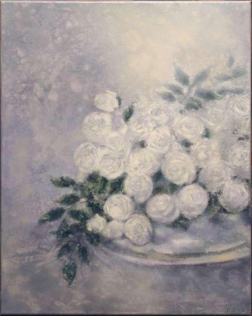 weiße Rosen III 40x50
